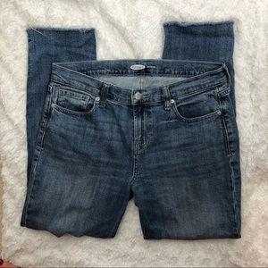 Old Navy Distressed Raw Hem Boyfriend Jeans - 6